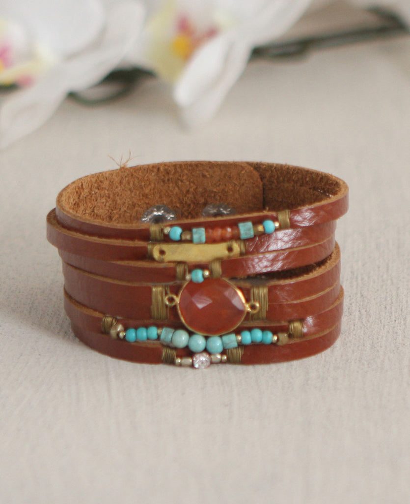 Leather Bangkok Bracelet with Agate
