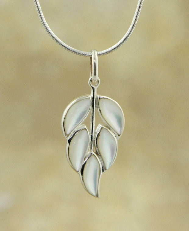 Mother of Pearl Modern Lilac Pendant, Sterling Silver