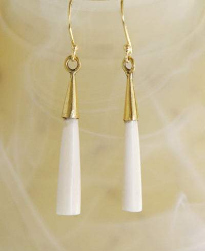 Mbili Long Drop Brass Earrings with 14K Gold