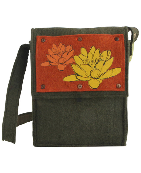 Water Lilies Fair Trade Wool Messenger Bag