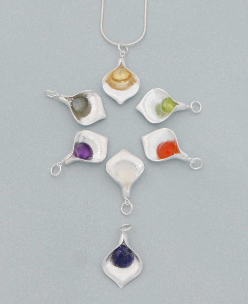 Sterling Silver and Gemstone Petal Pendant