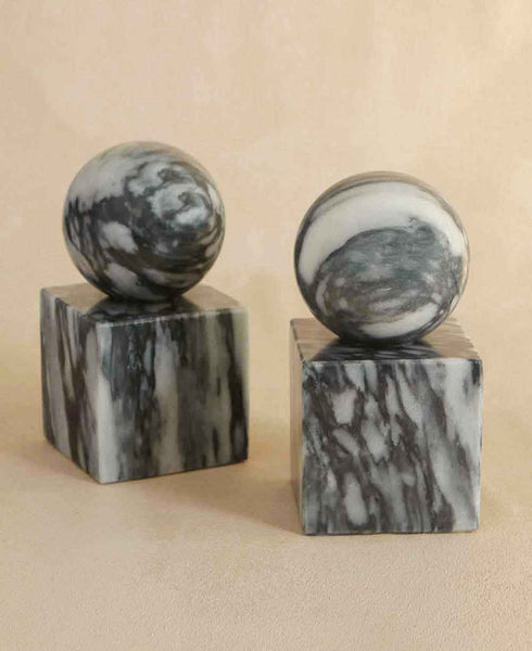Sphere on Cube Marble Bookends, Cloud Gray