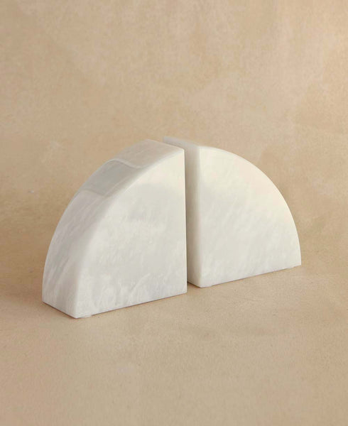 Cerasus Collection Pearl White Marble Bookends