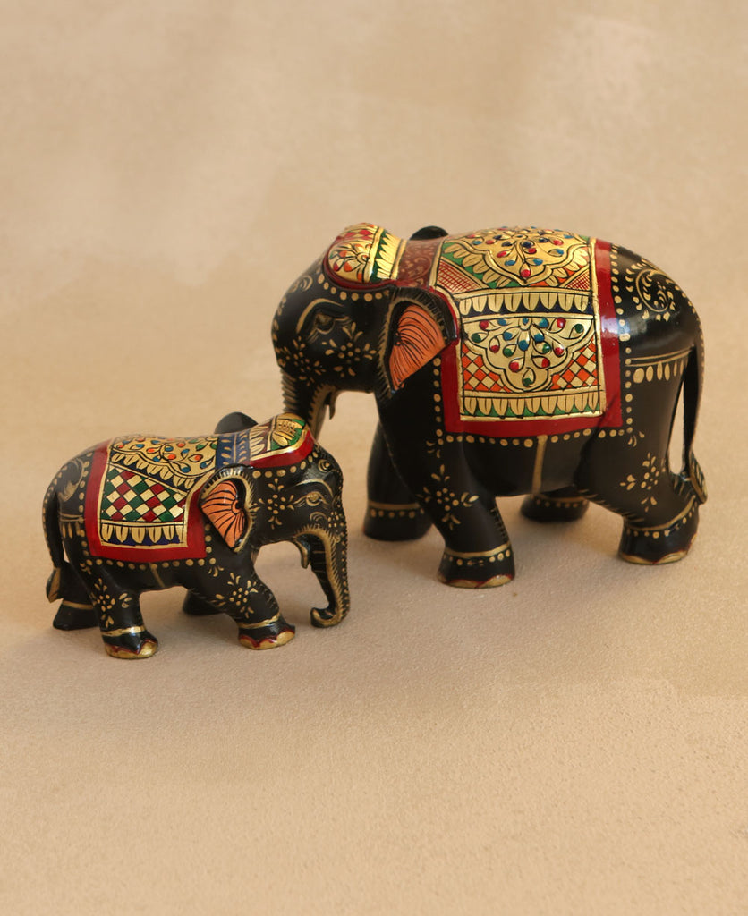 Hand-Painted Wooden Elephant Statues, India