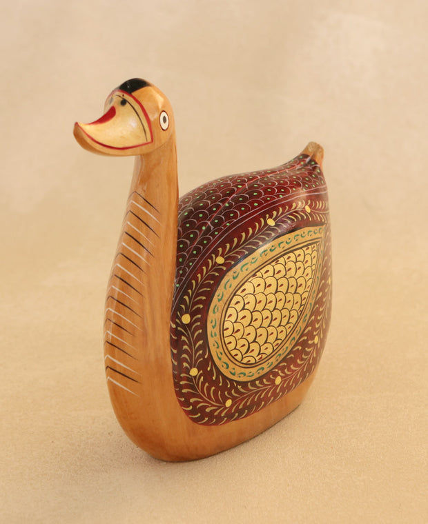 Hand-Painted Wooden Duck Statue, India