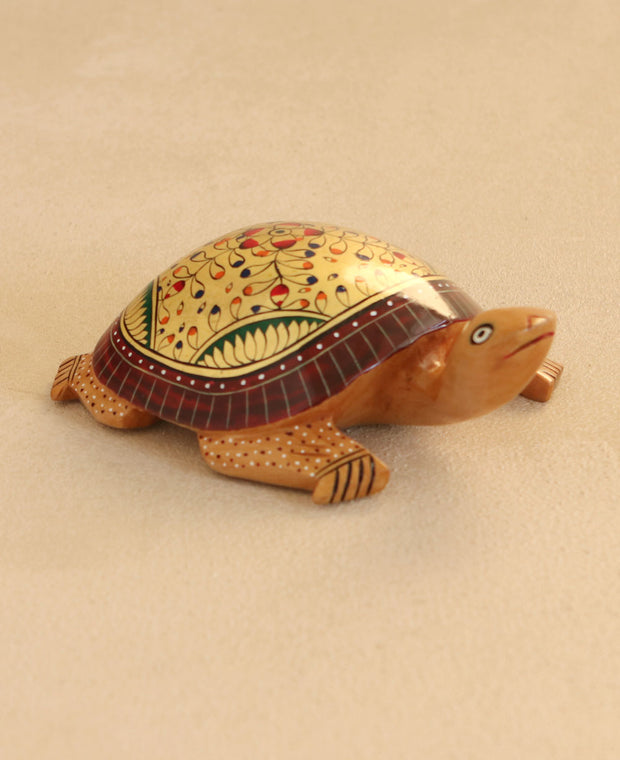 Hand-Painted Wooden Turtle Statue, India