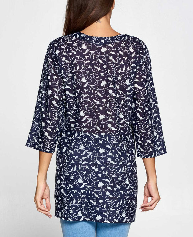 Night Blossoms Tunic Top