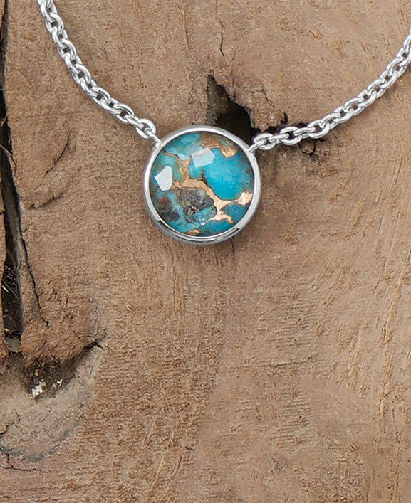 Fire and Sky Turquoise Pendant Necklace with Clear Quartz