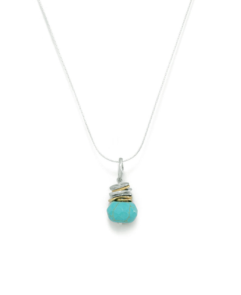 Stacked Rings Pendant Necklace with Turquoise, Israel