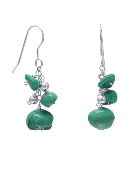 Sterling Silver Turquoise Nugget Earrings, USA