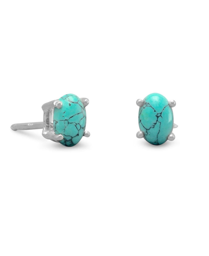 Simple Sterling Silver and Turquoise Stud Earrings, India