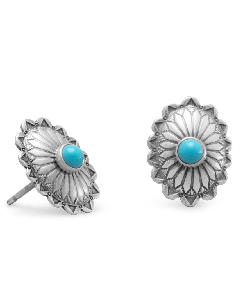 Desert Flower Silver Concho Earrings with Turquoise, USA