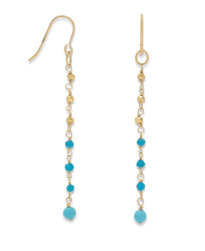 Half and Half Gold and Turquoise Wire Earrings, USA