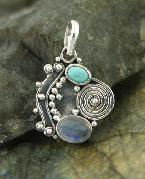 Moonstone and Turquoise Monsoon Storm Pendant, India