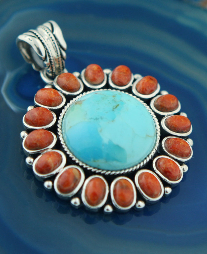 Turquoise and Coral Sterling Silver Sunburst Pendant, Thailand
