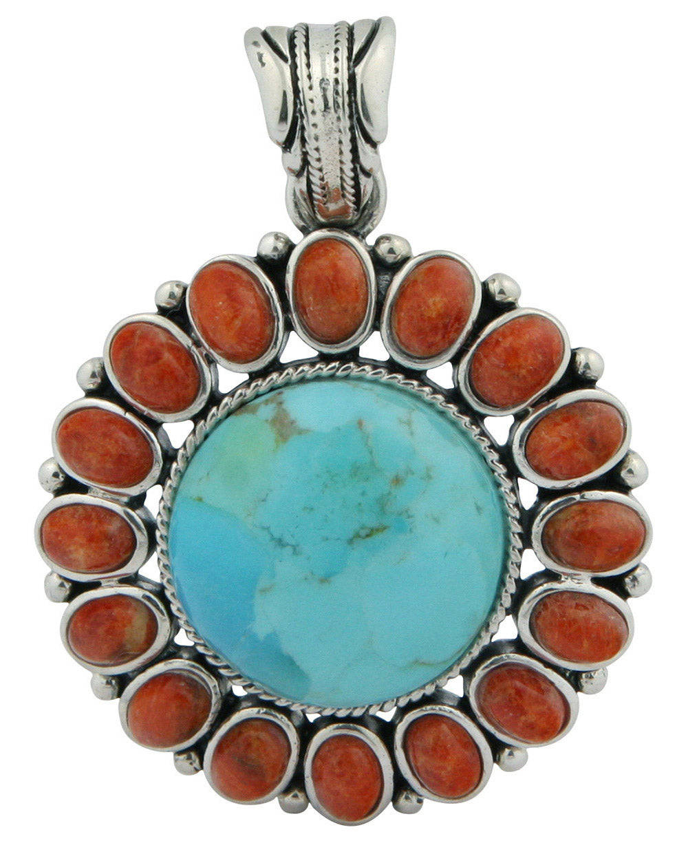 Turquoise and coral sterling silver sunburst pendant thailand thailand turquoise and coral sterling silver sunburst pendant aloadofball Images
