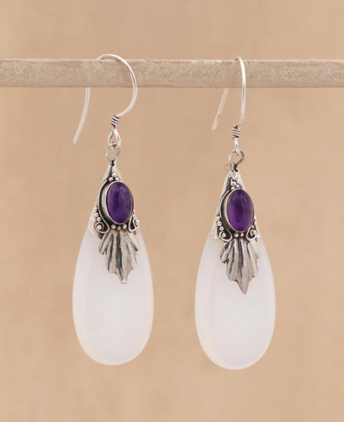 Amethyst and Sterling Silver Glass Drop Earrings