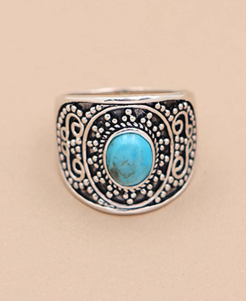 Turquoise and Sterling Silver Beaded Ring