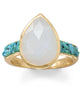 Moonstone and Crushed Turquoise Gold Ring