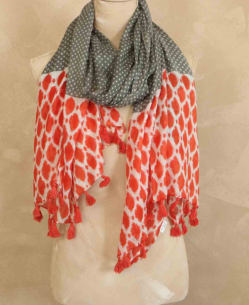 Red and Sage Star Print Ikat Scarf, India