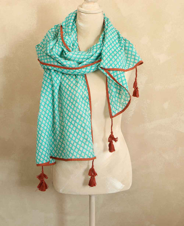 Turquoise Print Scarf