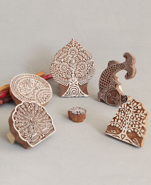 Hand-Carved Indian Wood Stamps