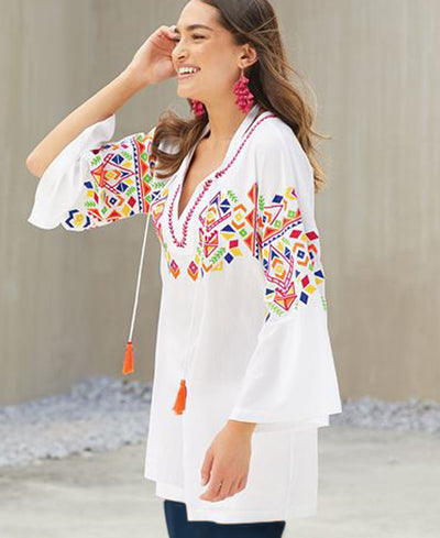 Geo Embroidered Tunic in White