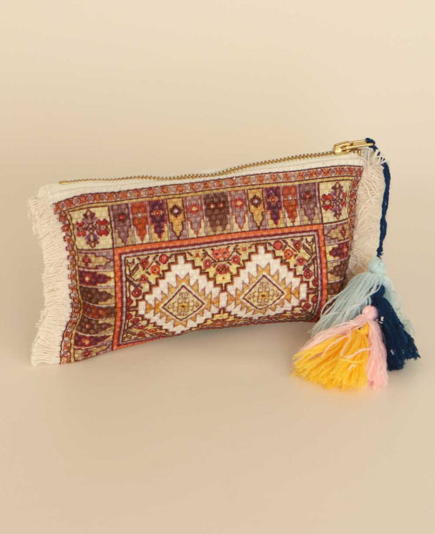 Fringed Tapestry Zippered Pouch