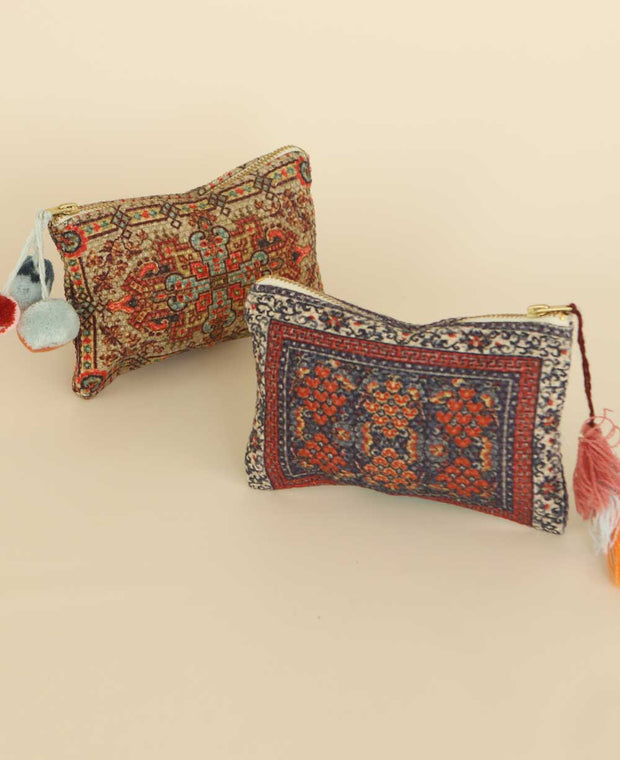 Mini Tapestry Zippered Pouch with Pom-Poms or Tassels