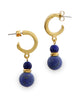 Sumerian Hoop Stud Earrings with Lapis Gemstone, USA