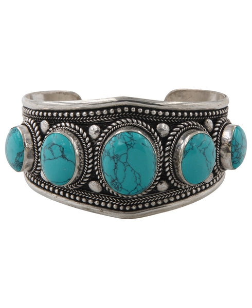 Ornate Tibetan Quintuple Cuff with Turquoise