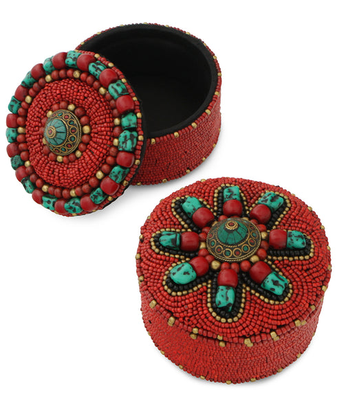 Beaded Tibetan Jewelry Box With Inlay Work