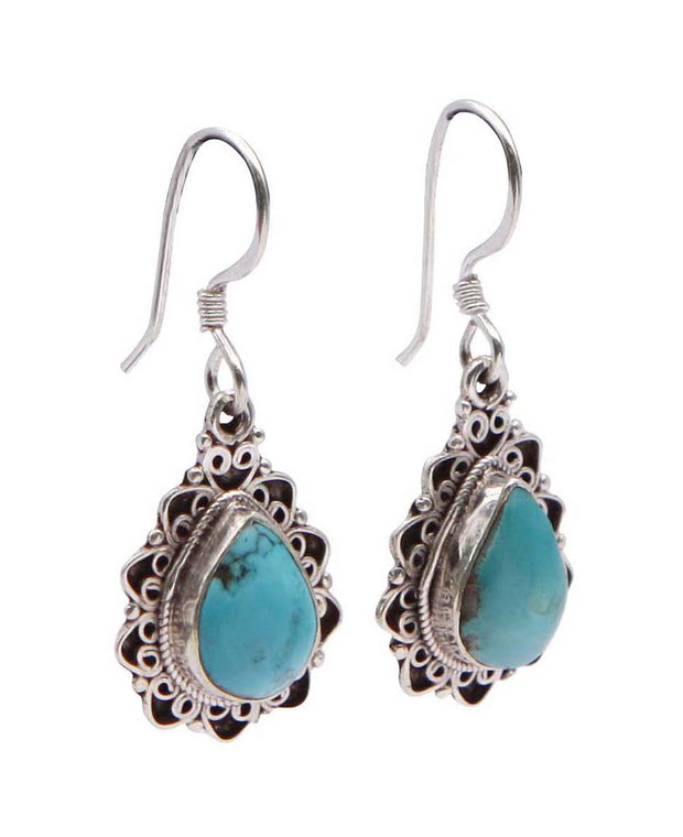 Turquoise Tears Sterling Silver Gemstone Earrings