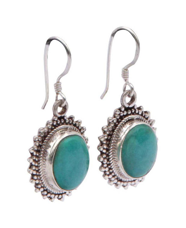 Turquoise Oval Earrings With Sterling Silver