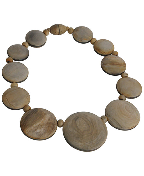 Full Moon Carved Horn Necklace, Nepal