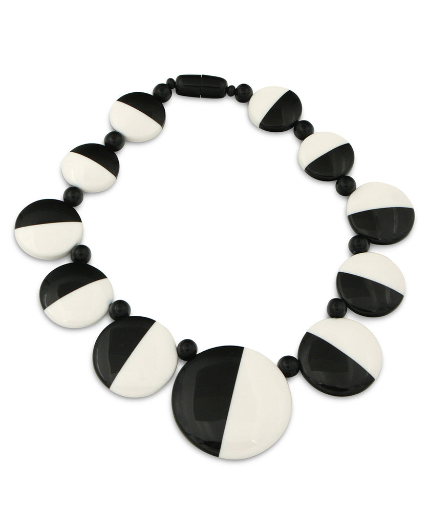 Semi-Circle Black and White Disk Necklace