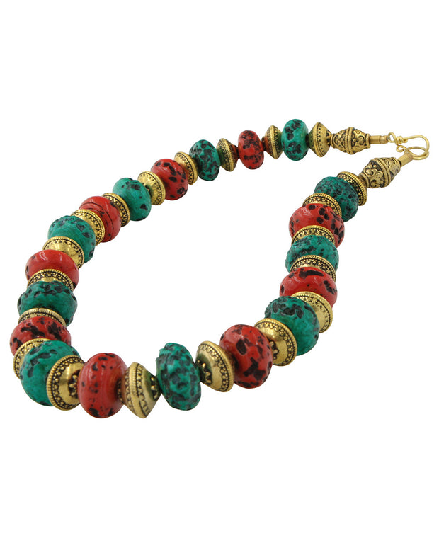 Tibetan Beaded Tribal Necklace with Embossed Brass