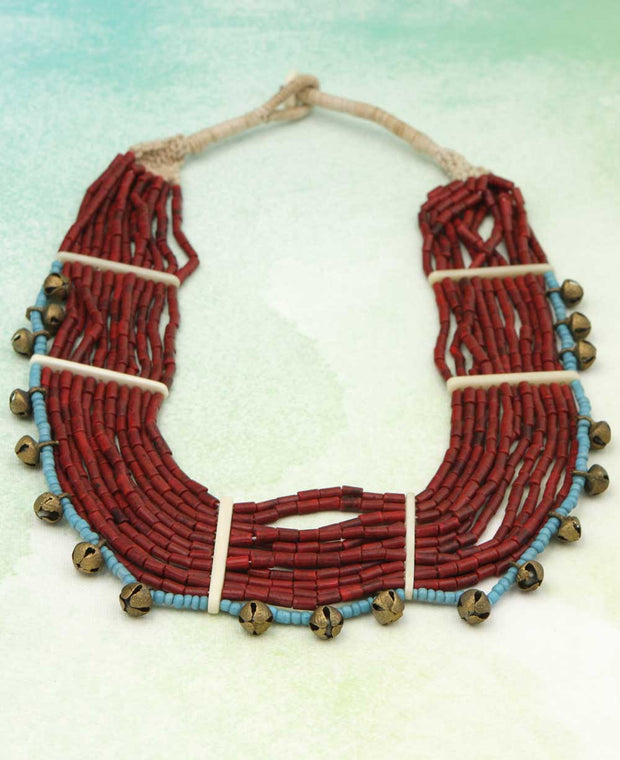 Crimson Bead Sun Necklace