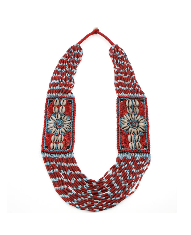 Twin Flowers Tribal Beaded Shell Necklace, Nepal