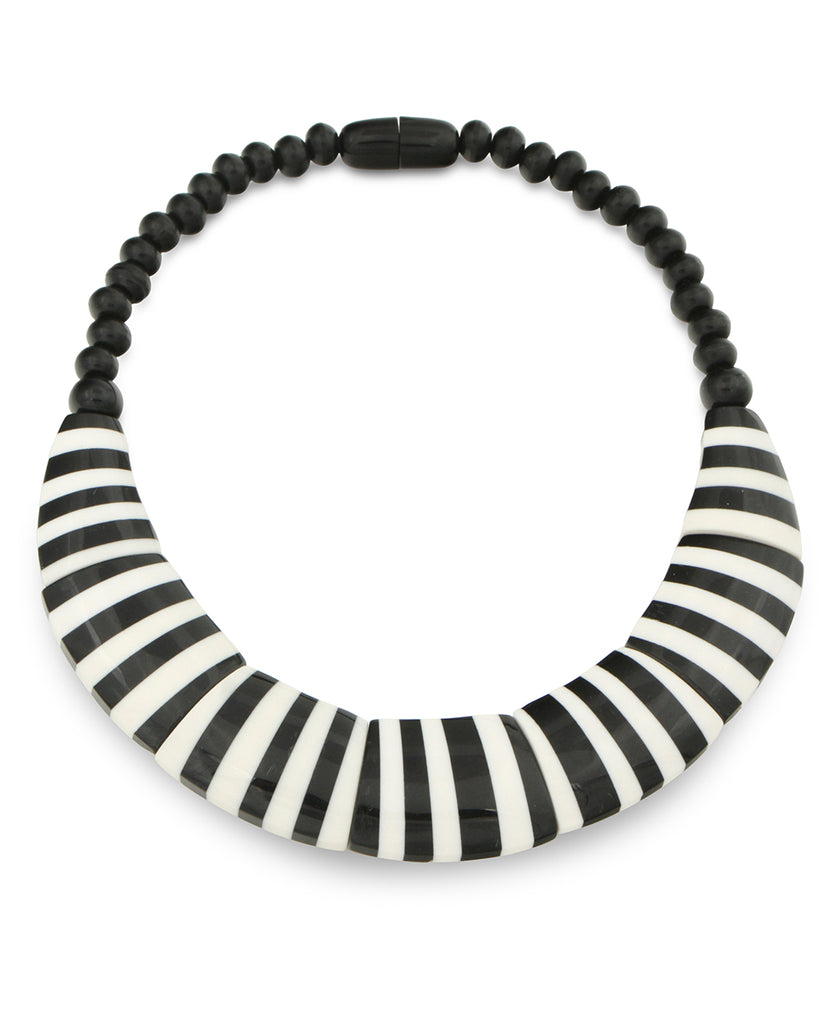 Black and White Striped Bib Necklace, Nepal