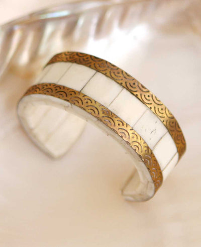 Bone and Brass Bracelet