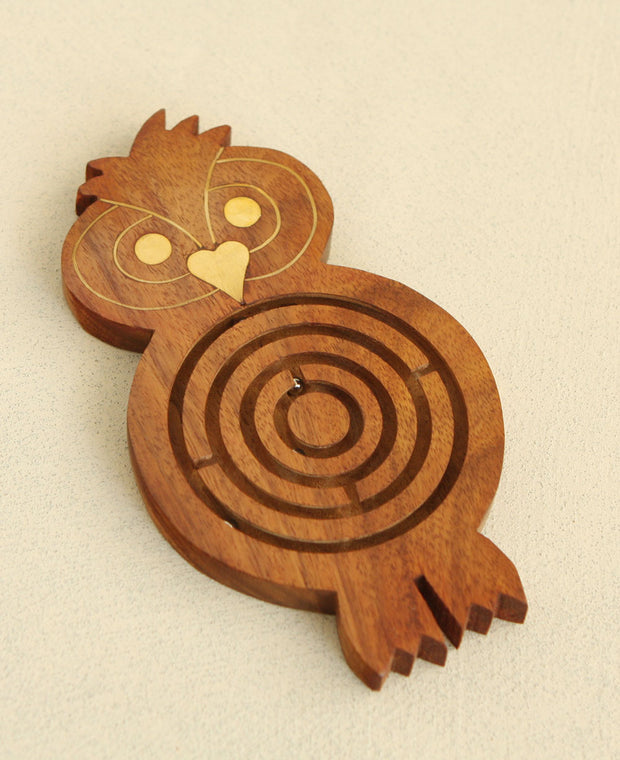 Hand Carved Owl Maze Game, India