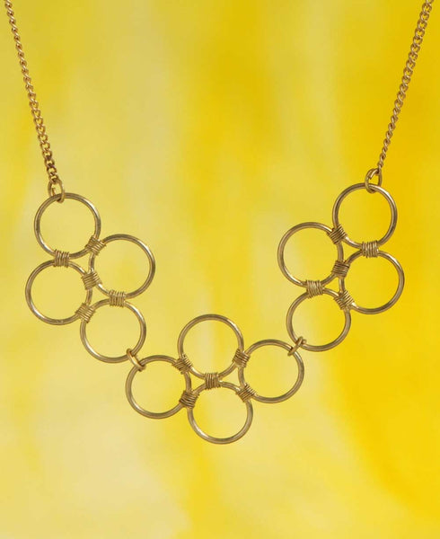 Sacred Circles Upcycled Brass Necklace, India