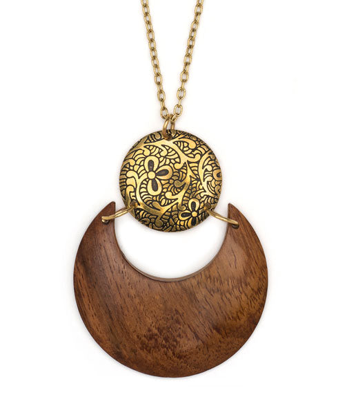 Sun and Earth Lunar Pendant Necklace, India