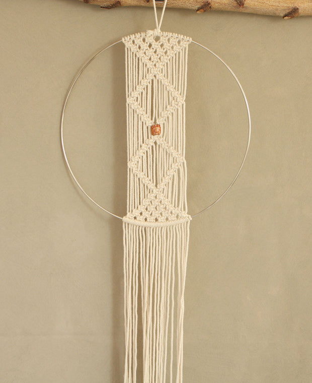 Diamond and Hoop Boho Macramé Wall Hanging, India