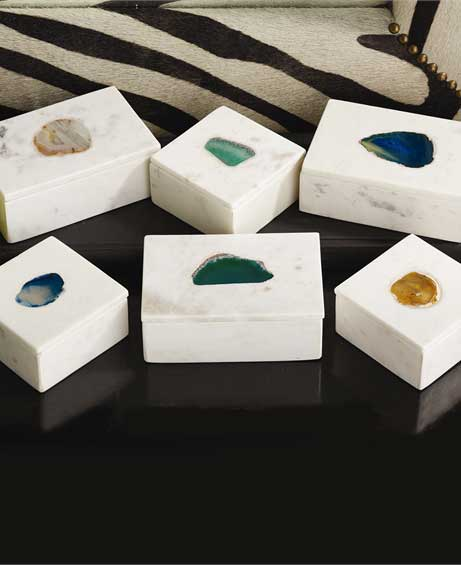 Marble and Agate Stone Boxes, India