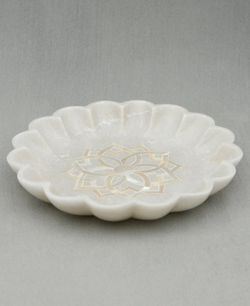 Marble Lotus Bowl With Mother of Pearl, India