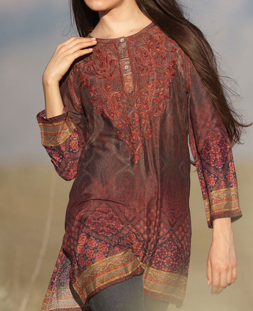Ombre Print Indian Silk Tunic, Fair Trade