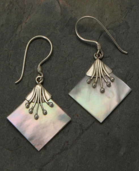 Art Deco Indonesian Mother of Pearl Earrings