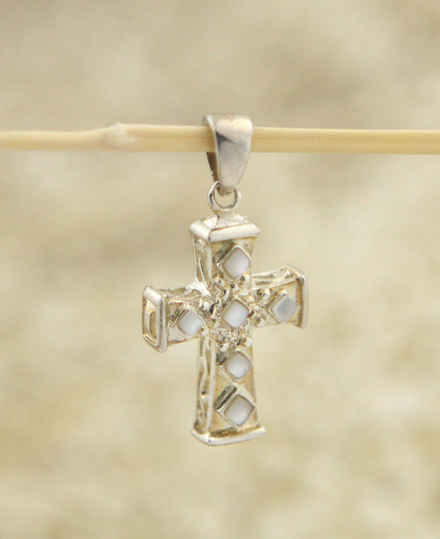Mother of Pearl Regal Cross Pendant, Sterling Silver